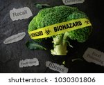 yellow biohazard tape on a... | Shutterstock . vector #1030301806