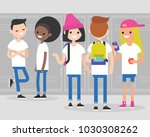 break at school. conversation.... | Shutterstock .eps vector #1030308262