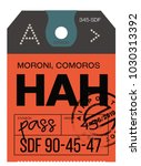 moroni airport luggage tag.... | Shutterstock .eps vector #1030313392