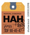moroni airport luggage tag.... | Shutterstock .eps vector #1030313398