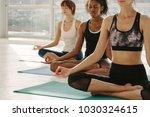 three women in yoga class... | Shutterstock . vector #1030324615