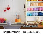hand knitting machine. a... | Shutterstock . vector #1030331608