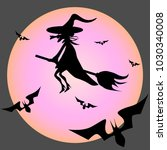 halloween witch. witch and bats ... | Shutterstock .eps vector #1030340008
