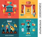 four squares theatre icon set... | Shutterstock .eps vector #1030345852
