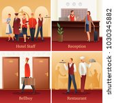 hotel staff 4 flat gradient... | Shutterstock .eps vector #1030345882