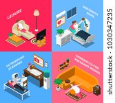 isometric design concept with... | Shutterstock .eps vector #1030347235