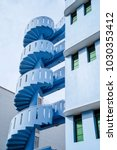 blue staircase building | Shutterstock . vector #1030353412