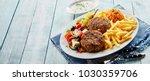 bifteki  or greek meat balls ... | Shutterstock . vector #1030359706