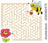 help bee find path to flower.... | Shutterstock .eps vector #1030382575