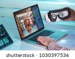 operator with computer of... | Shutterstock . vector #1030397536