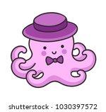cute little octopus in a hat ... | Shutterstock .eps vector #1030397572
