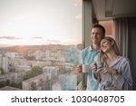 romantic happy young couple... | Shutterstock . vector #1030408705