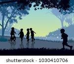 happy childhood time. happy... | Shutterstock .eps vector #1030410706