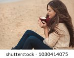 beautiful brunette woman... | Shutterstock . vector #1030414075