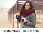 beautiful woman with long hair...   Shutterstock . vector #1030414282