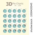 3d pie chart 1 25 | Shutterstock .eps vector #1030420345