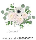 ranunculus anemone eucalyptus... | Shutterstock .eps vector #1030450396