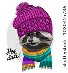 vector raccoon with knitted hat ... | Shutterstock .eps vector #1030455736