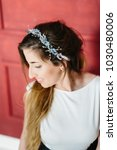 young beautiful bride with a...   Shutterstock . vector #1030480006