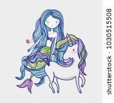 little mermaid with unicorn art ...   Shutterstock .eps vector #1030515508