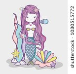 little mermaid art cartoon   Shutterstock .eps vector #1030515772