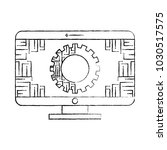 monitor computer with gear...   Shutterstock .eps vector #1030517575