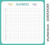numbers for kids. worksheet for ... | Shutterstock .eps vector #1030534285