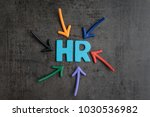 Small photo of Colorful arrows pointing to the word HR at the center on black cement blackboard wall, represent Human Resource department, hiring new job or position in company.