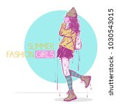 fashion poster in pastel colors.   Shutterstock .eps vector #1030543015