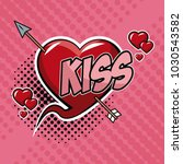 kiss with heart and arrow pop... | Shutterstock .eps vector #1030543582