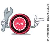 mechanic funfair coin mascot... | Shutterstock .eps vector #1030561606