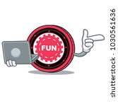 with laptop funfair coin... | Shutterstock .eps vector #1030561636