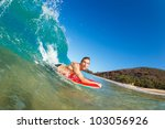 body boarder surfing blue ocean ... | Shutterstock . vector #103056926