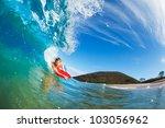 body boarder surfing blue ocean ... | Shutterstock . vector #103056962