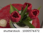 Red Tulips In Blue Vase  With...