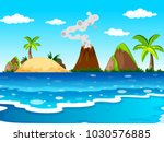 ocean scene with volcano and... | Shutterstock .eps vector #1030576885