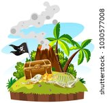 treasure island with chest and... | Shutterstock .eps vector #1030577008
