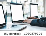 businessman using computer to... | Shutterstock . vector #1030579306