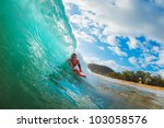 body boarder surfing blue ocean ... | Shutterstock . vector #103058576