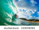 body boarder surfing blue ocean ... | Shutterstock . vector #103058582