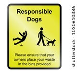 yellow responsible dog waste... | Shutterstock . vector #1030610386