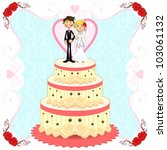 romantic wedding cake | Shutterstock .eps vector #103061132