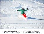 fast skier freerides at... | Shutterstock . vector #1030618402