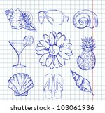 old set with sea motifs | Shutterstock .eps vector #103061936