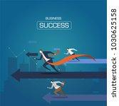 businessman run to the goal.... | Shutterstock .eps vector #1030625158