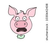 the cute pig has an expression... | Shutterstock .eps vector #1030642408