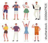 various sports player character.... | Shutterstock .eps vector #1030647925