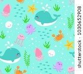 cute sea life cartoon...   Shutterstock .eps vector #1030652908