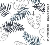 hand drawn  tropical leave... | Shutterstock .eps vector #1030654015