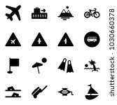 solid vector icon set   plane... | Shutterstock .eps vector #1030660378